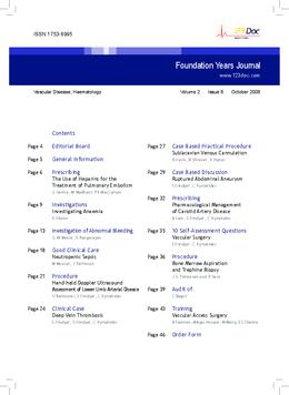 Foundation Years Journal, volume 2, issue 8: Vascular Disease, Haematology
