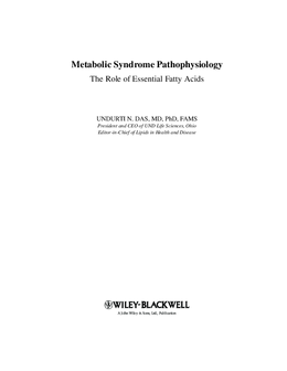 Metabolic Syndrome Pathophysiology The Role of Essential Fatty Acids